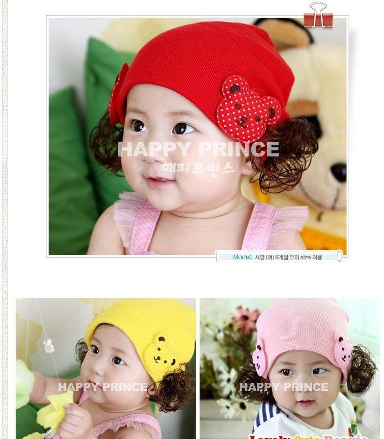 韩版宝宝帽子儿童帽子假发套头帽女宝宝潮帽秋冬公主毛线帽 76玫红