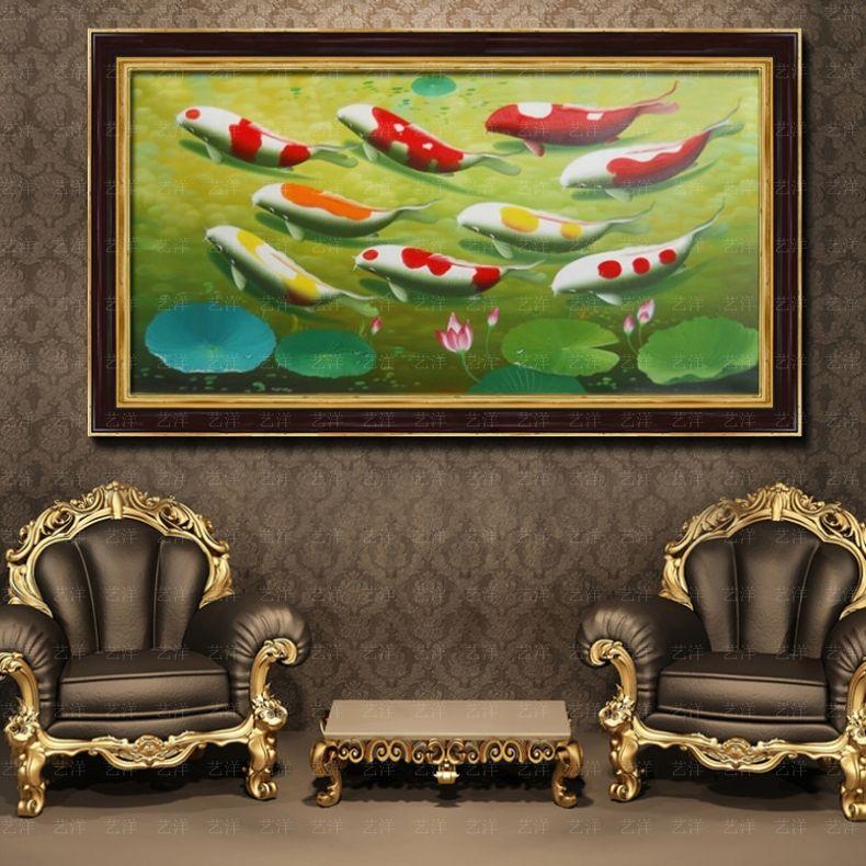 九图鱼油画玄关荷花孔雀风水纯手绘欧式竖版中式现代