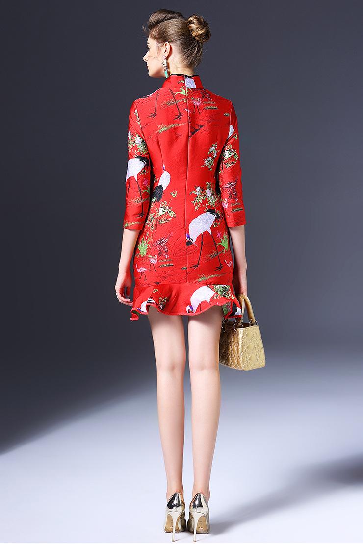2015秋冬新款女装欧美时尚新年装旗袍七分袖修身气质连衣裙q6180 红色