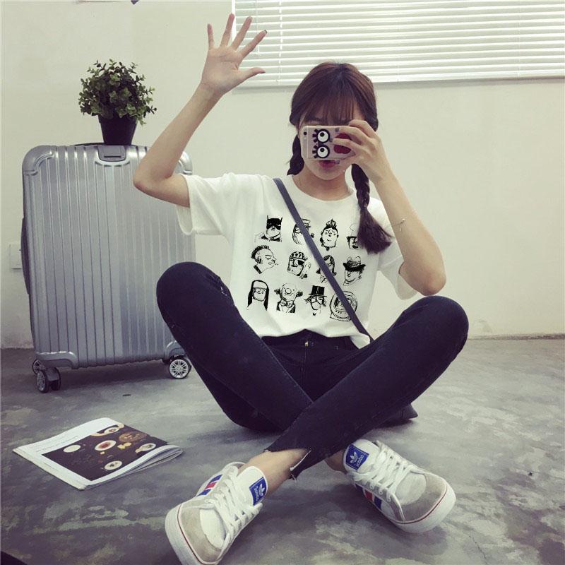 泛雪2016韩国铅笔画手绘复古小人头像短袖t恤女上衣