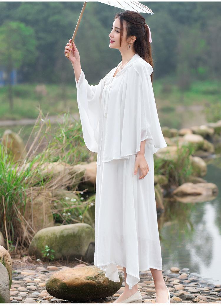朵域2016新款中国风手绘白色汉服春季短斗篷披风防晒衣短外套jd024c
