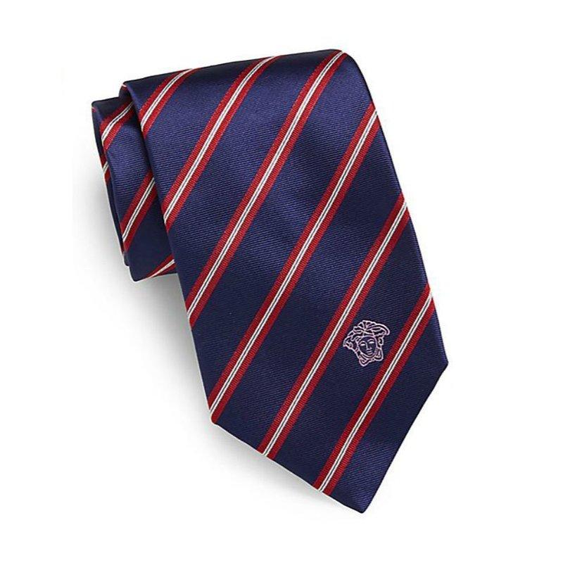 范思哲(versace)男士 navy & red striped 欧美商务正装领带专柜图片
