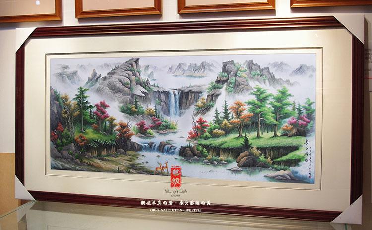 艺绫手工刺绣 高档苏绣山水风景画 大型有框壁画 客厅