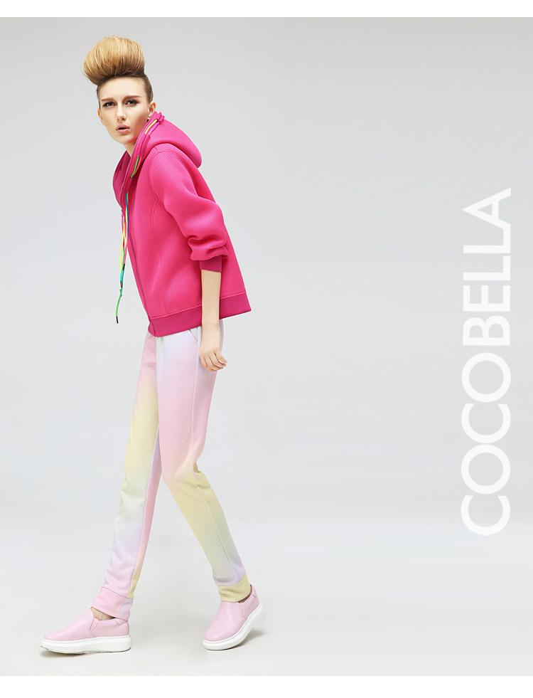 预售cocobella 春装新品欧美范纯色宽松连帽拉链女士潮卫衣ct387 酷黑图片