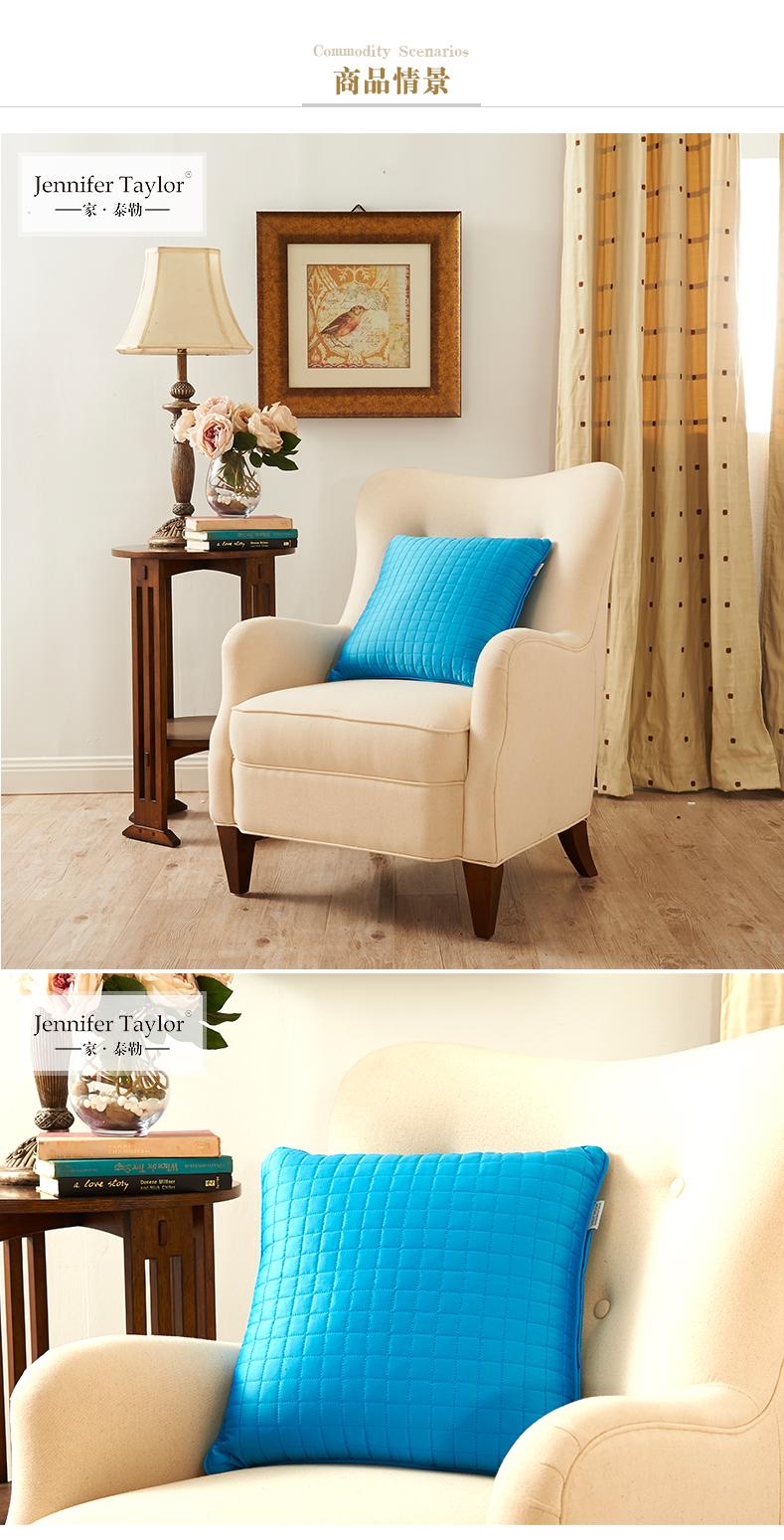 家泰勒 美式家居抱枕布艺靠垫抱枕家居沙发床头靠枕腰托 酒红色 45x45图片
