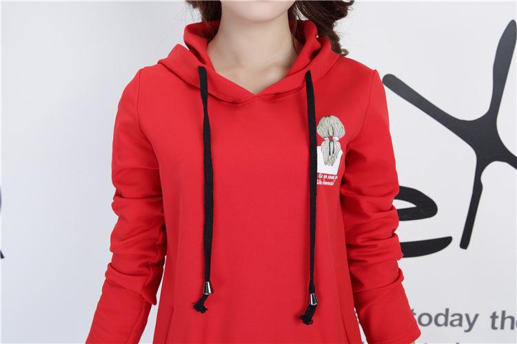 魅芷2015秋装新款美女头卡通背影连帽毛球呢料卫衣 红色 均码
