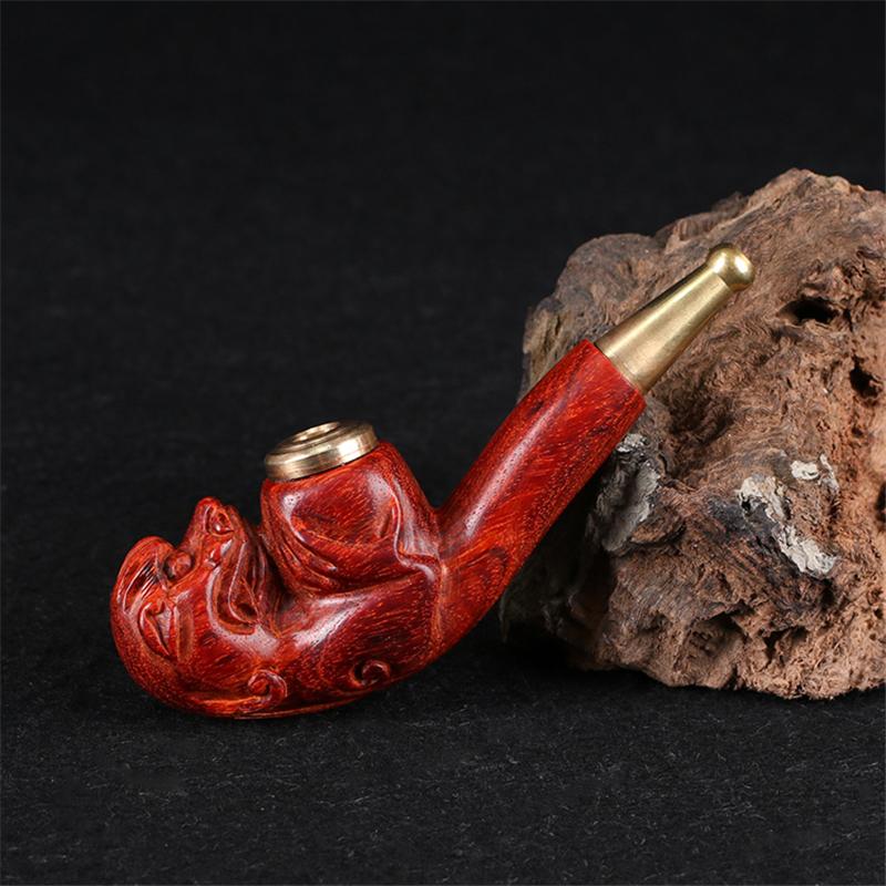 工艺品 木雕 小叶紫檀 手工雕刻 貔貅烟嘴