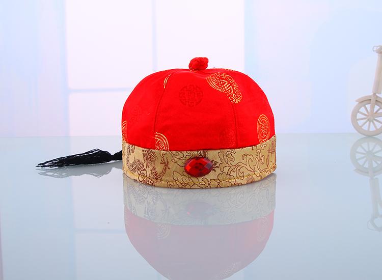 婴儿秋冬红色带辫毛线喜庆过年唐装帽子保暖地主帽宝宝保暖帽 红色 6