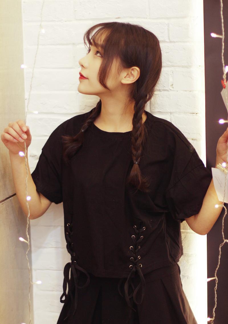 蜜诺依 2016夏季韩版下摆两边绑绳子镂空短款短袖宽松