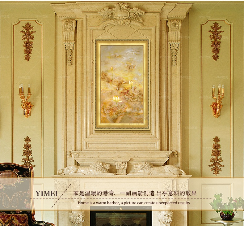 璇美现代欧式抽象纯手绘油画装饰画花卉荷花池风景