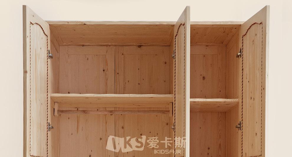 爱卡斯 儿童全实木衣柜原木 移门推拉门衣柜 松木大衣橱储物柜 木质柜