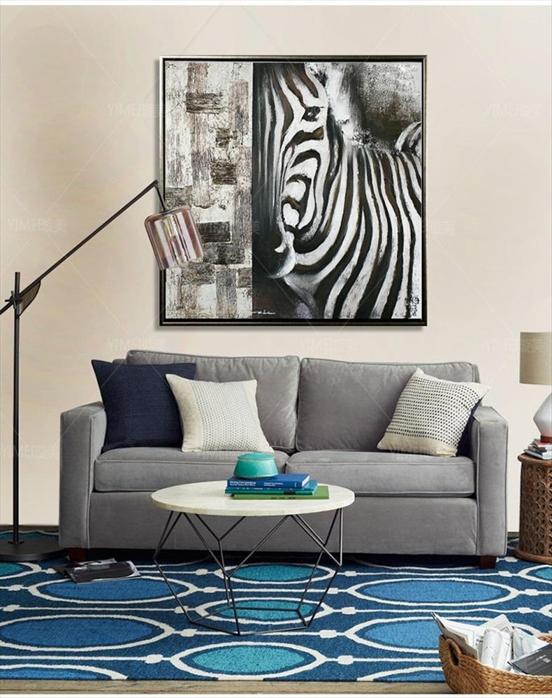 手绘油画欧式现代客厅玄关餐厅书房办公室挂画装饰画动物原创斑马抽象