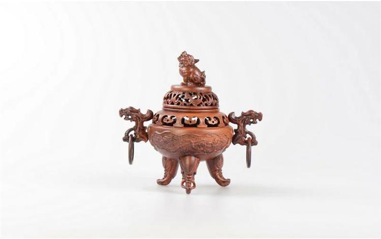 罗诗玛诺 纯实木木雕工艺品 花梨木质狮头凤耳香薰炉