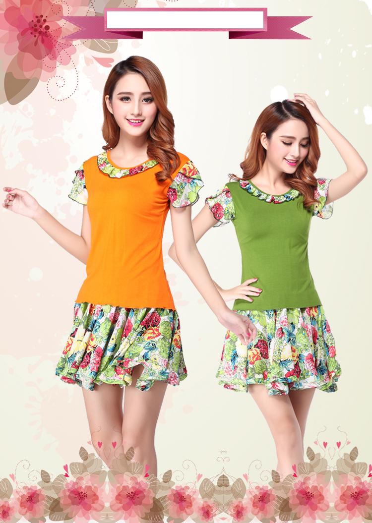 广场舞服装夏季清凉短袖时尚大碎花跳舞服装短裙套装新款 橙色 l图片
