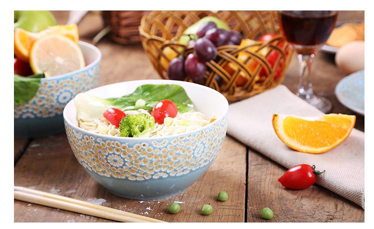 新品上市手绘陶瓷碗个性汤碗创意沙拉面碗特色餐厅早餐粥碗饭菜碗 面