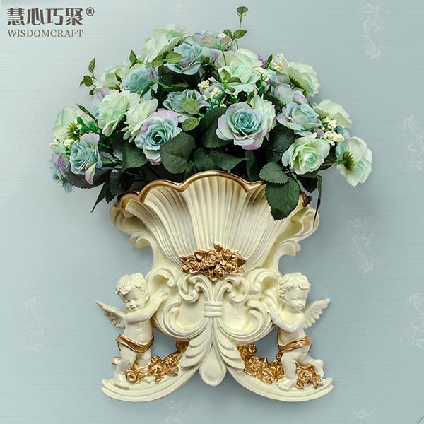 慧心巧聚 墙饰壁饰欧式创意树脂立体壁挂花瓶花篮家居图片