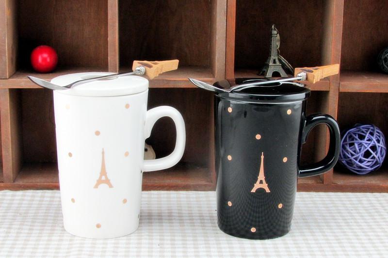 黑白金铁塔创意杯子 巴黎铁塔陶瓷马克杯创意水杯
