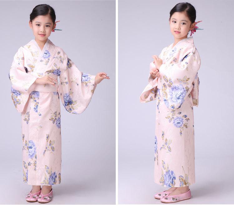 日本传统小女孩儿童正装和服长款睡袍浴衣表演出舞台舞蹈服装 新碎蓝