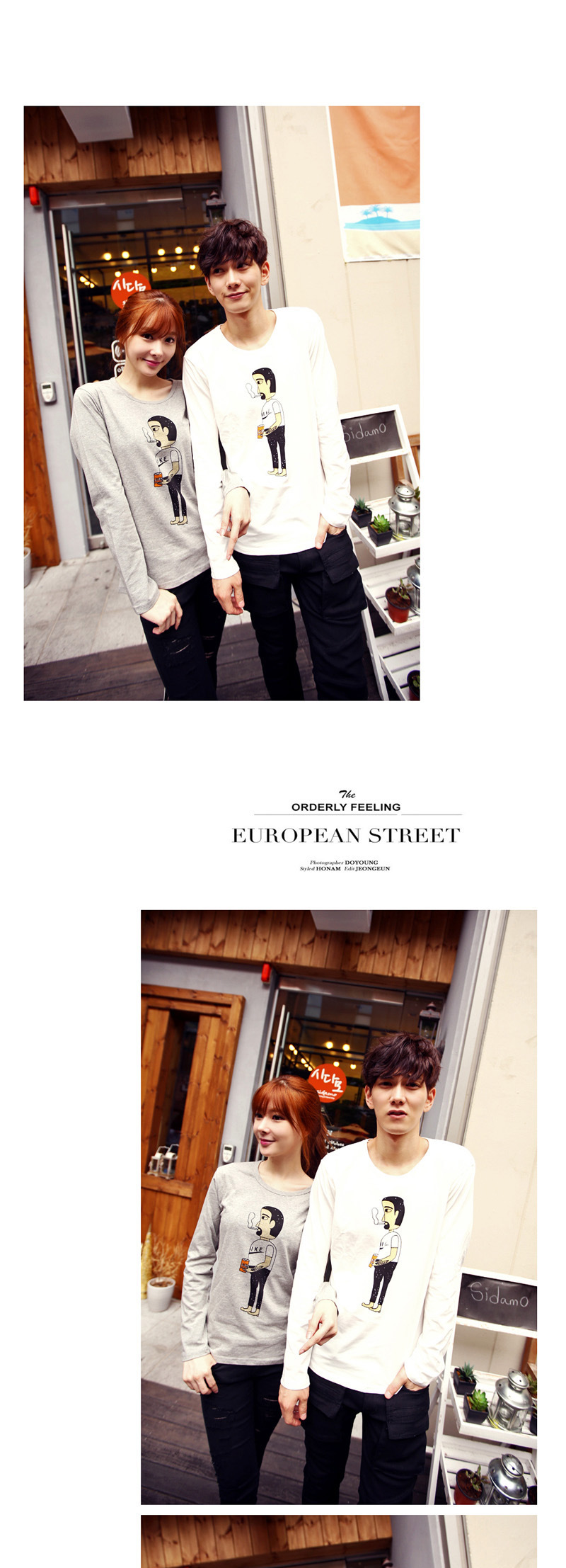 c2潮朝 拿烟斗的小人图案印花 时尚修身男女百搭情侣长袖t恤 白色 s