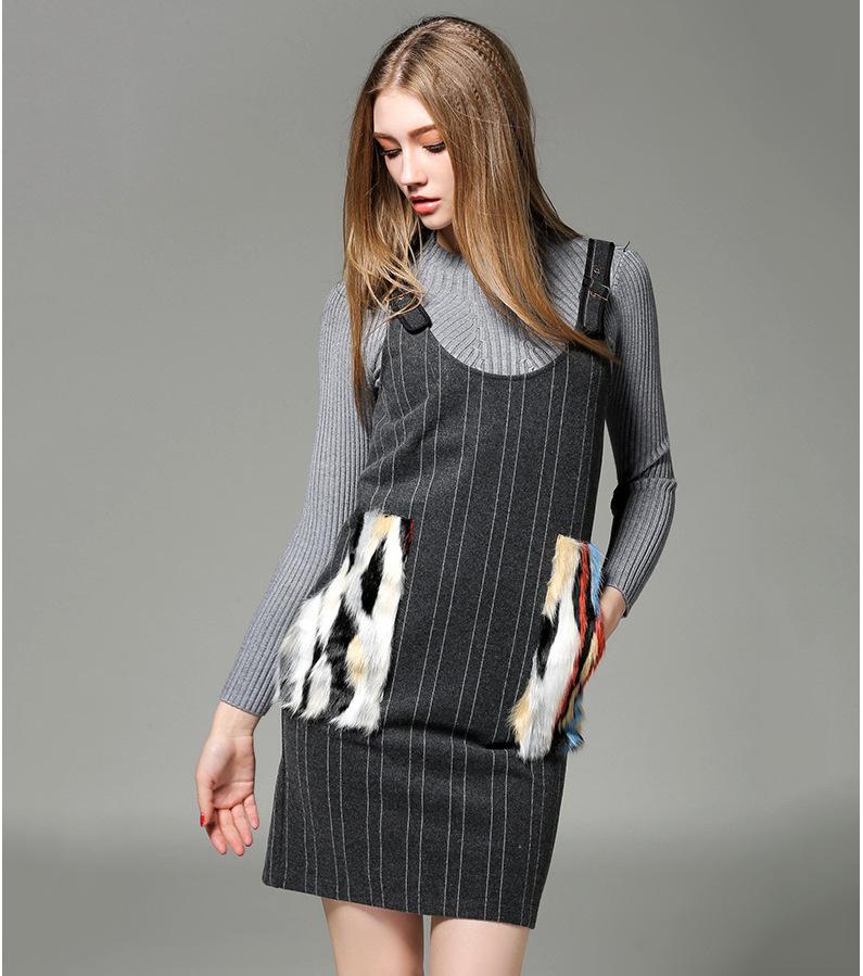 2015秋冬新款女装 毛衣 长袖针织连衣裙两件套裙套装fz858 图片色 l