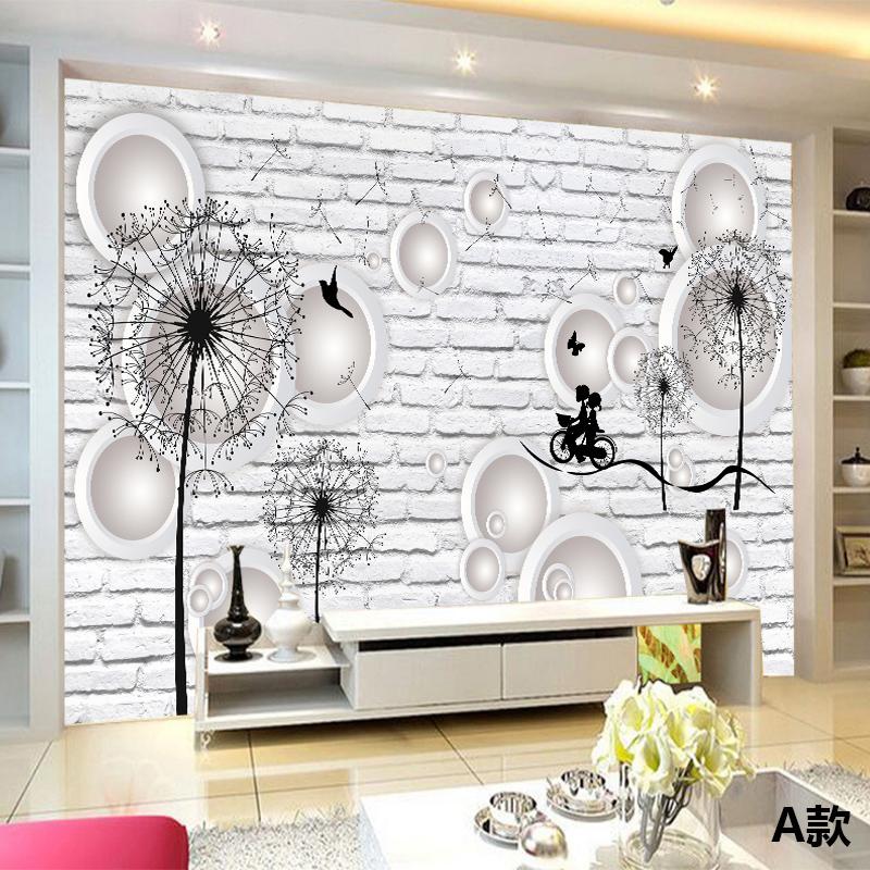 壁纸客厅卧室电视背景墙纸手绘蒲公英简约黑白砖h01-fj017 无缝棉麻布