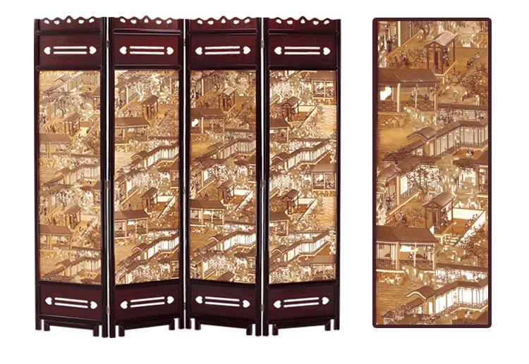 赛森 新款包邮复古中式实木屏风隔断移动屏风折屏客厅