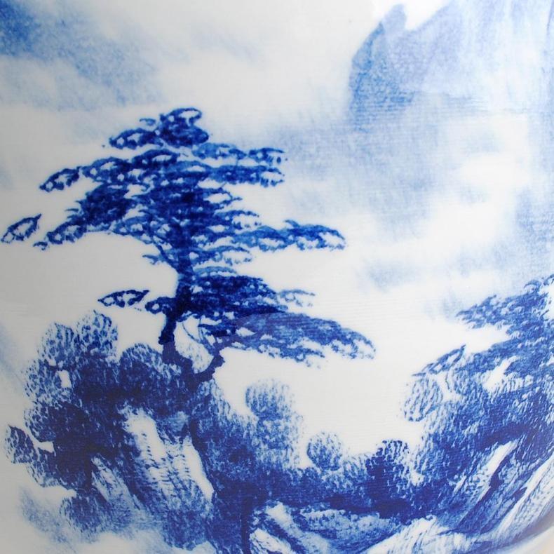 景德镇陶瓷器 青花瓷手绘山水画大金鱼缸乌龟缸创意家居客厅摆件(大号