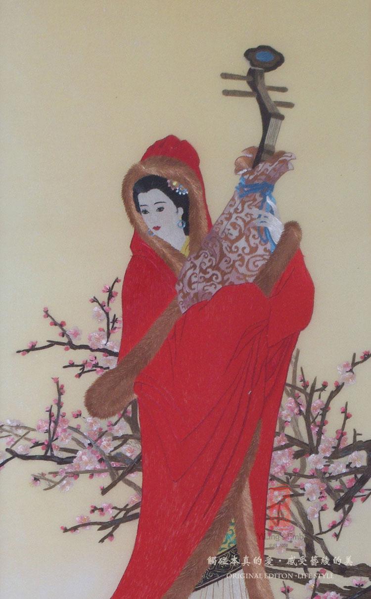 艺绫手工刺绣 四大美女宫廷仕女图 中式古典装饰画 高档客厅苏绣有框