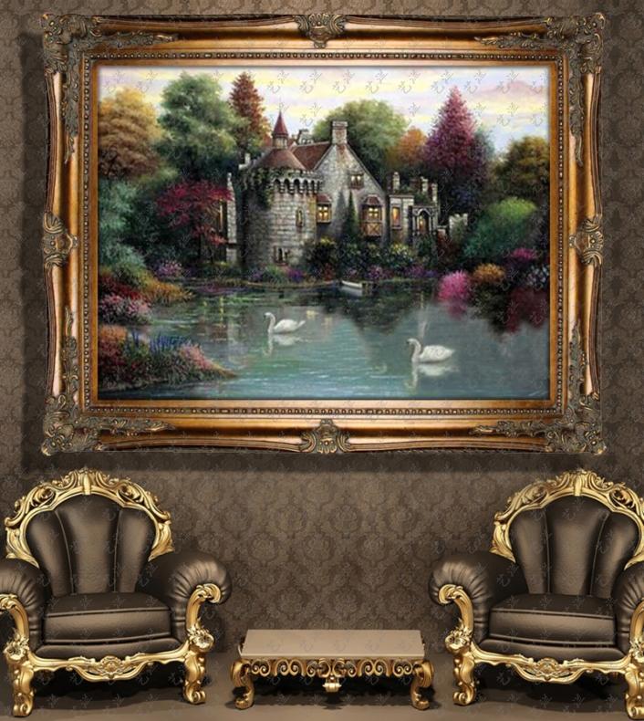 家居手工手绘欧式油画有框别墅客厅玄关壁炉装饰画托马斯花园风景