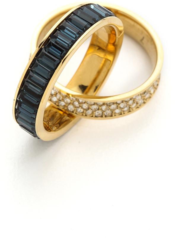 长方形宝石交叉花纹戒指