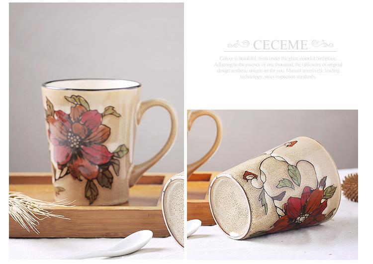 手绘陶瓷杯子 特色大号马克杯