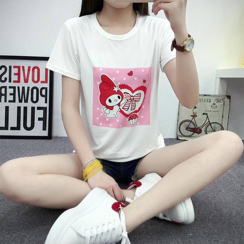 班卓短袖t恤女夏新款卡通宽松上衣服韩版学生闺蜜装8053 白色 l