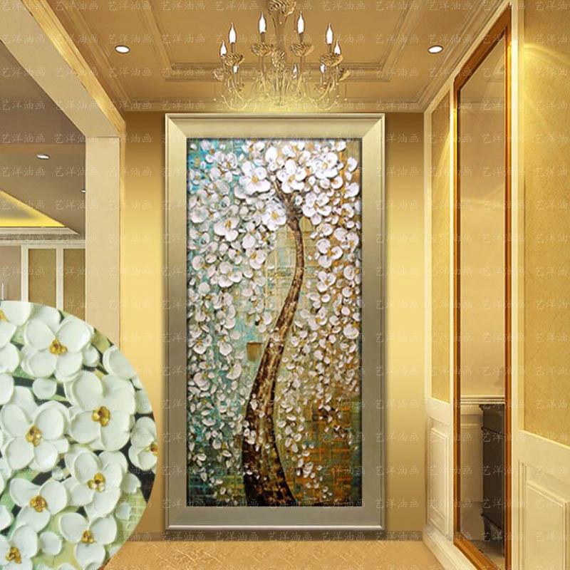 发财树玄关油画幸福抽象欧式挂画走廊过道壁画客厅竖版带框装饰画 752图片