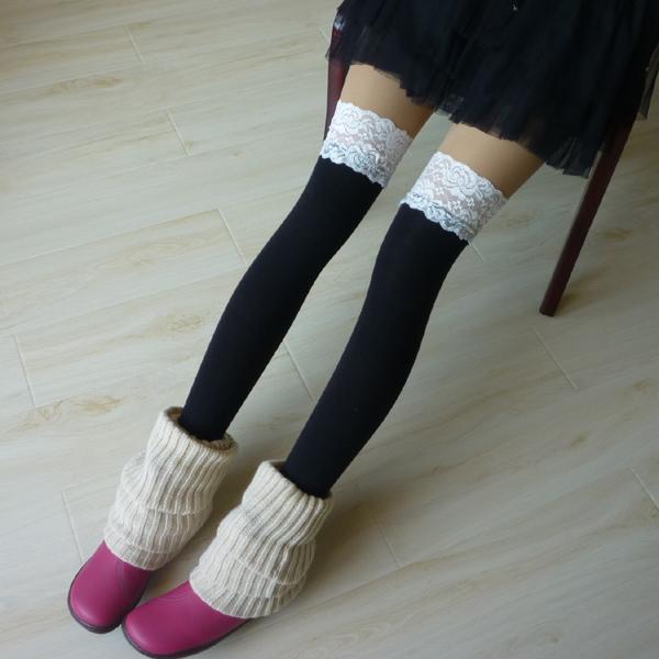 蕾丝过膝袜