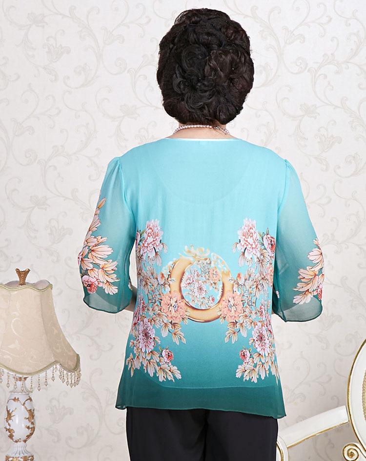 勤晴店桑蚕丝手绘上衣 中老年女装夏装 妈妈装长袖衬衫 半袖bq 白色