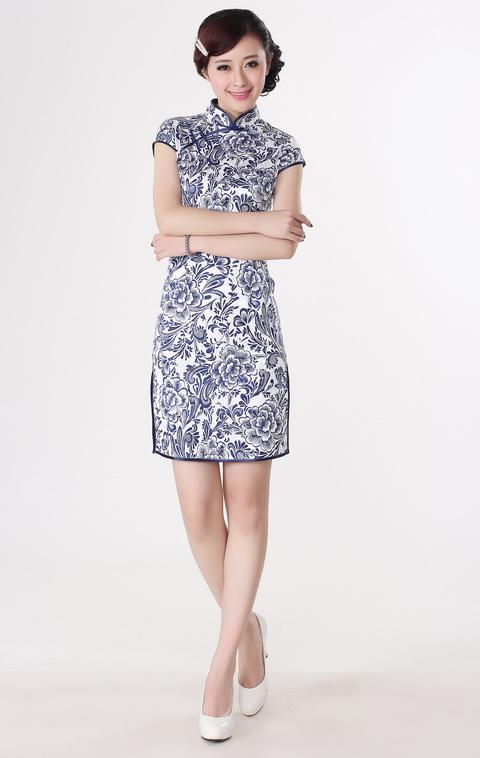 旗袍夏装改良复古连衣裙立领斜襟纯棉印花中式改良旗袍礼服 白底兰花