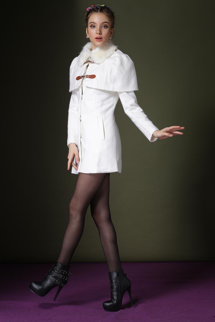 杉杉女装跺(h�(�_杉杉来了赵丽颖明星同款女装韩版斗篷毛呢外套女欧美中长款大衣 白色