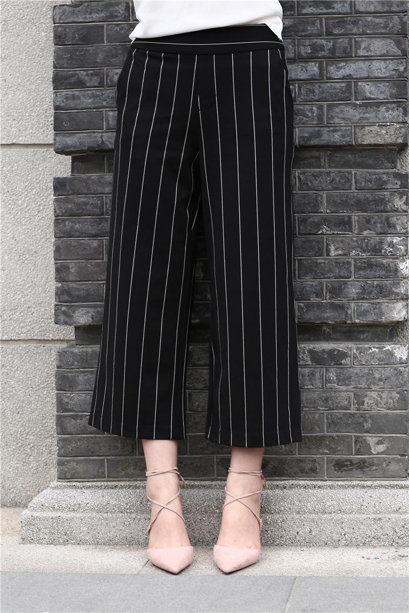 席尔顿*2016韩版女式条纹阔腿裤潮流时尚百搭条纹裤子
