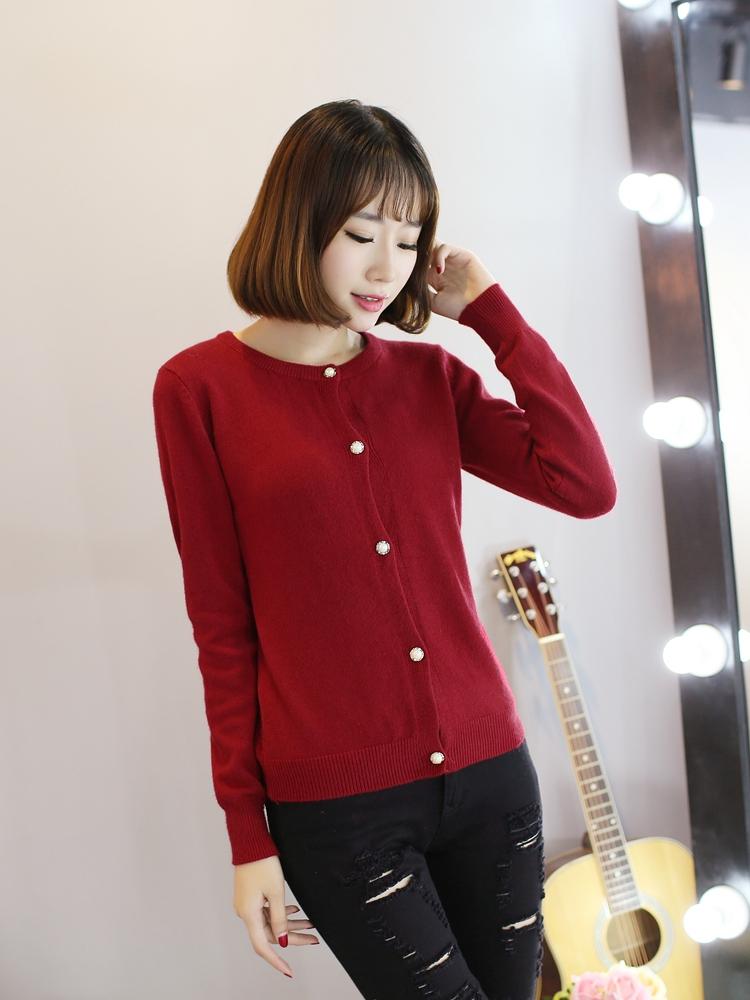 针织衫女秋装新款韩版圆领长袖开衫毛衣短款外套女 米