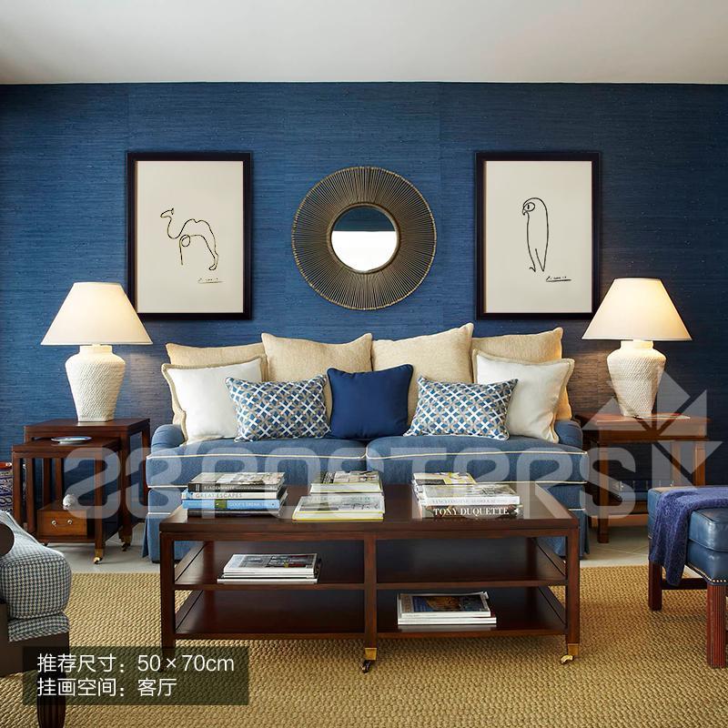 23posters毕加索一笔画现代简约客厅沙发背景墙三联挂图片
