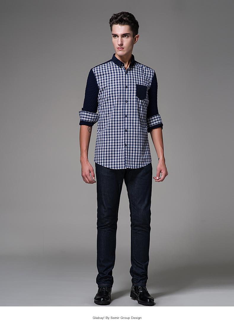森马哥来买2015秋装新款 男装翻领长袖棉质修身格子长袖衬衫男 潮 蓝图片