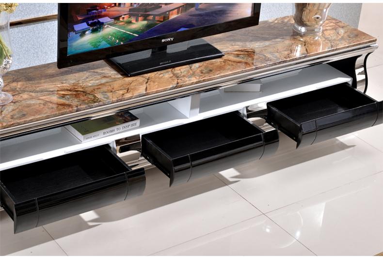 奥菲利 电视柜 大理石茶几电视柜 现代烤漆茶几电视柜组合套装 黑色 1