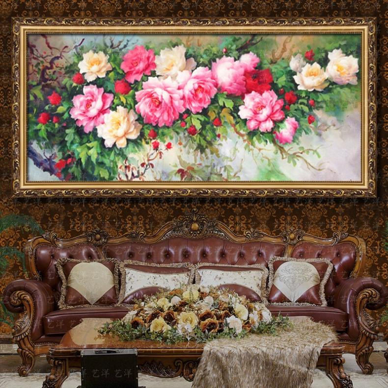 新中式油画纯手绘欧式花花开富贵客厅卧室玄关牡丹挂画有框装饰画