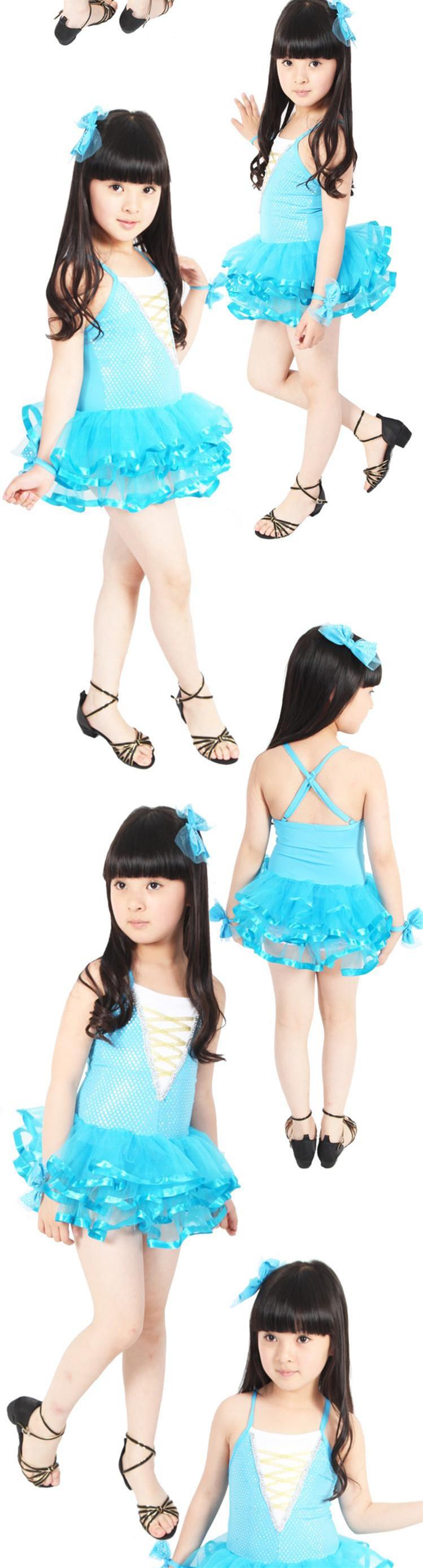 六一儿童节表演舞蹈裙演出服装小学生幼儿园拉丁舞带头饰手饰套装 玫