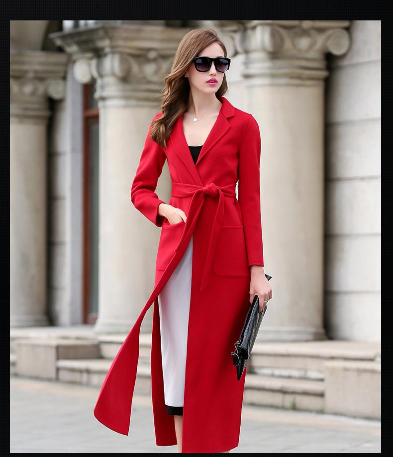 羊绒呢大衣外套女_歌兰寇2015秋冬新款手工双面羊毛呢大衣女羊绒外套时尚修身 暗红色 l