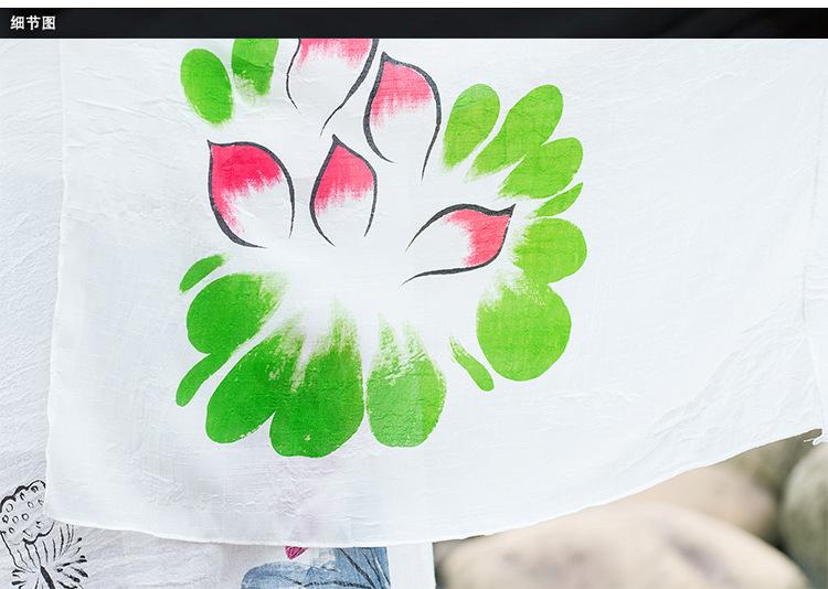 促销价 中国风手绘淡色超大围巾披肩汉服周边批帛春秋 淡黄梨花