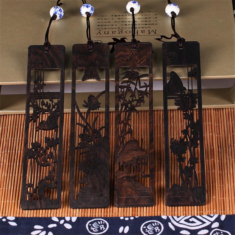 工艺品 木雕 黑檀 手工雕刻 镂空书签 梅兰竹菊礼盒装