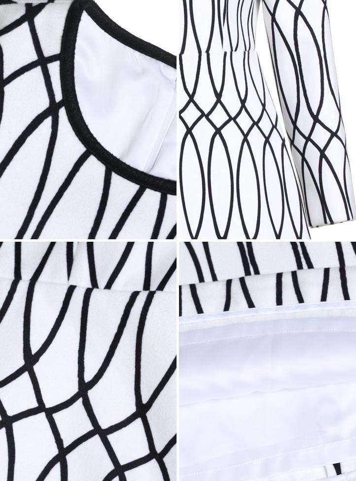 装抽象印花高腰长袖连衣裙
