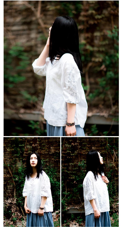 席尔顿女装*sc692 梅子熟了 2014夏季新款 文艺复古森系森女绣花中袖