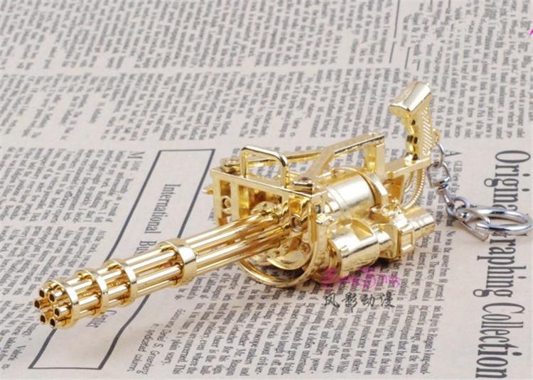 cf穿越火线加特林英雄武器枪模黄金加特林模型雷神玩具枪钥匙扣 15cm图片